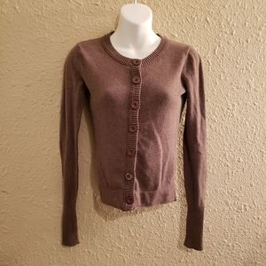 Delia's Brown Cropped Button Down Knit Cardigan